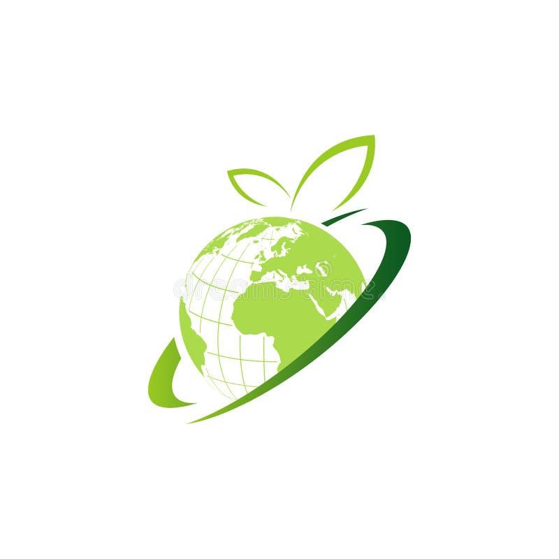Natural Green Globe logo design for international business of global technology industries stock illustration