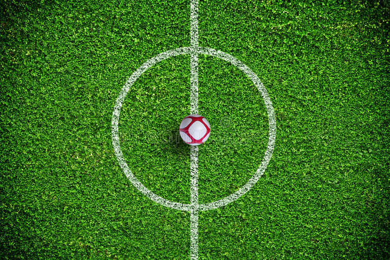 Natural green grass soccer field royalty free stock photography