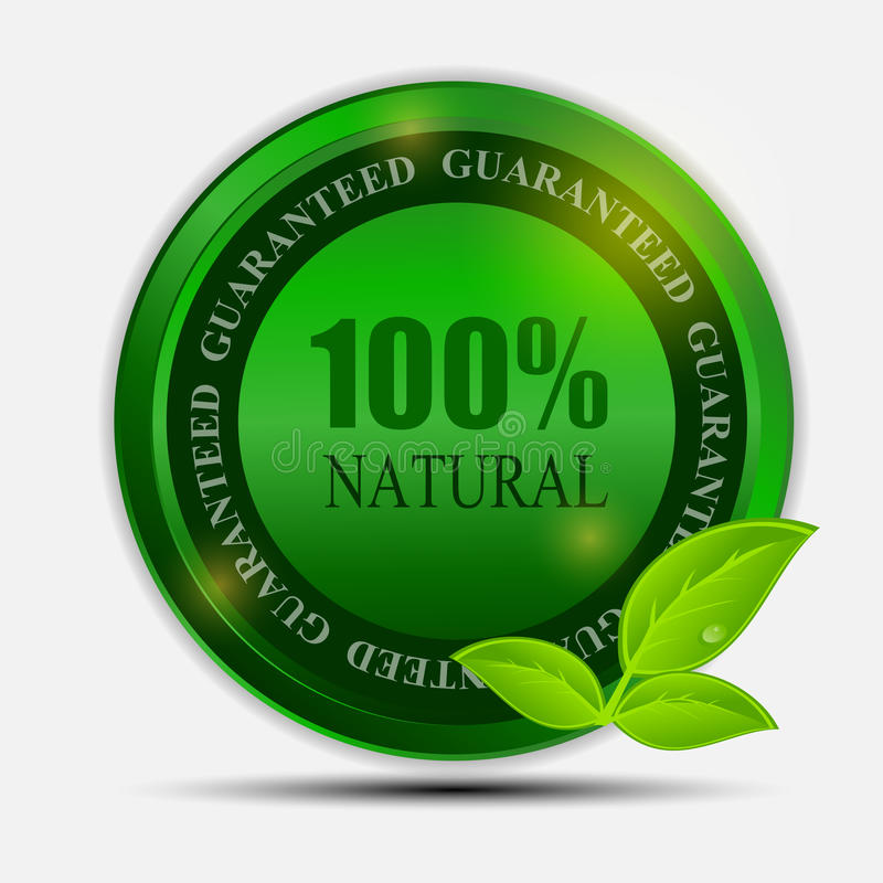 100% natural green label isolated on white.vector vector illustration