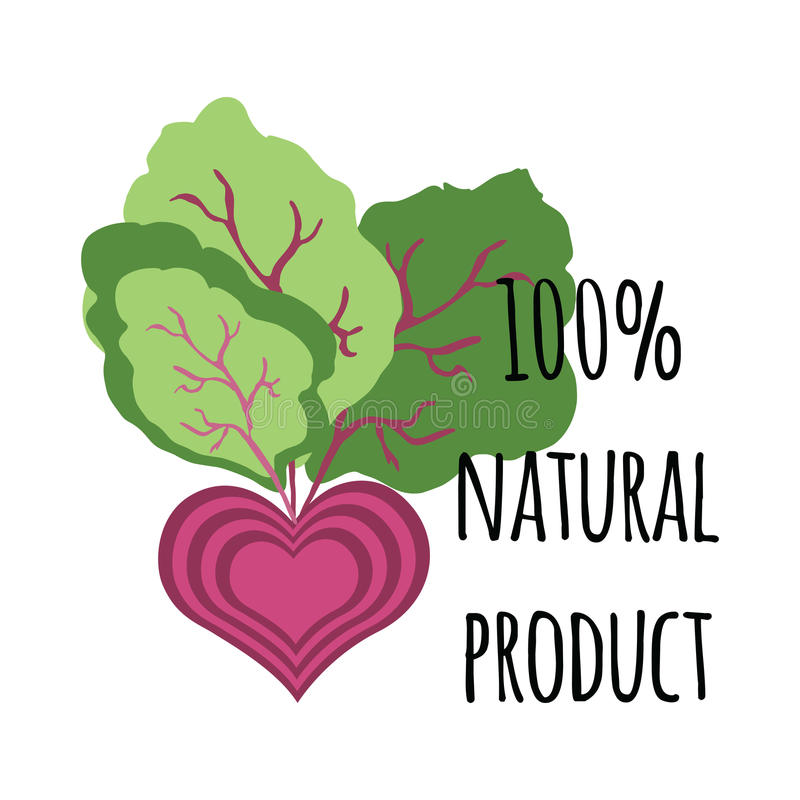 Natural green lettering sticker with cute beetroot stock illustration