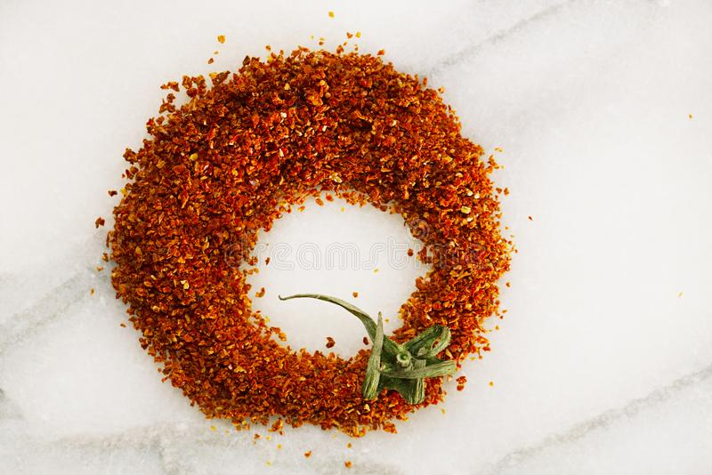 Natural ground sun dried tomatoes powder royalty free stock photography