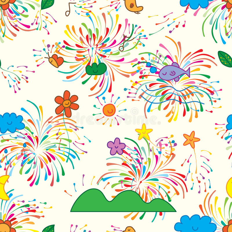 Natural growth colorful firework seamless pattern. This illustration is design abstract natural bring the colorful firework happy the atmosphere in seamless stock illustration