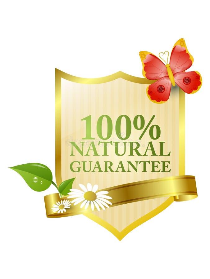Natural guarantee label stock illustration