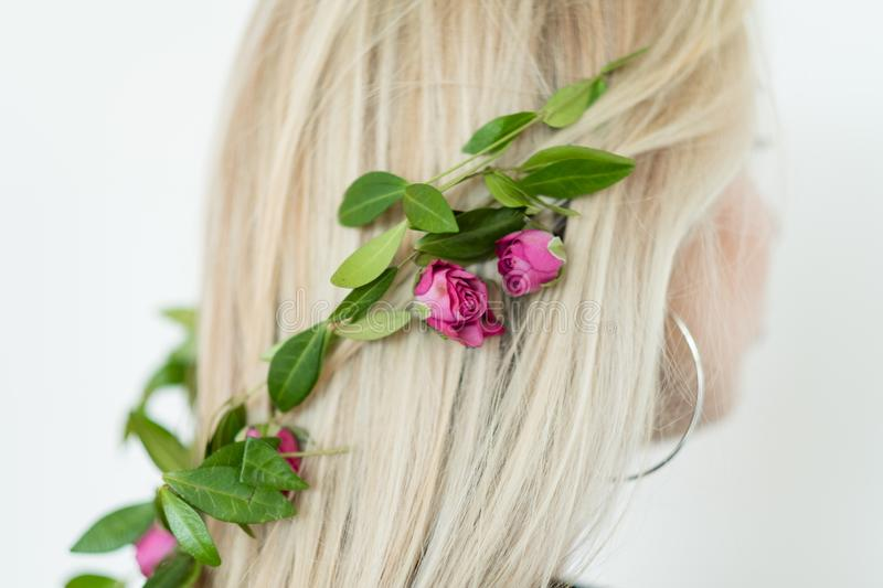 Natural hair decor girl fresh flower accessories stock image
