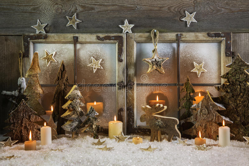 Natural handmade christmas decoration of wood outdoor in the win royalty free stock images