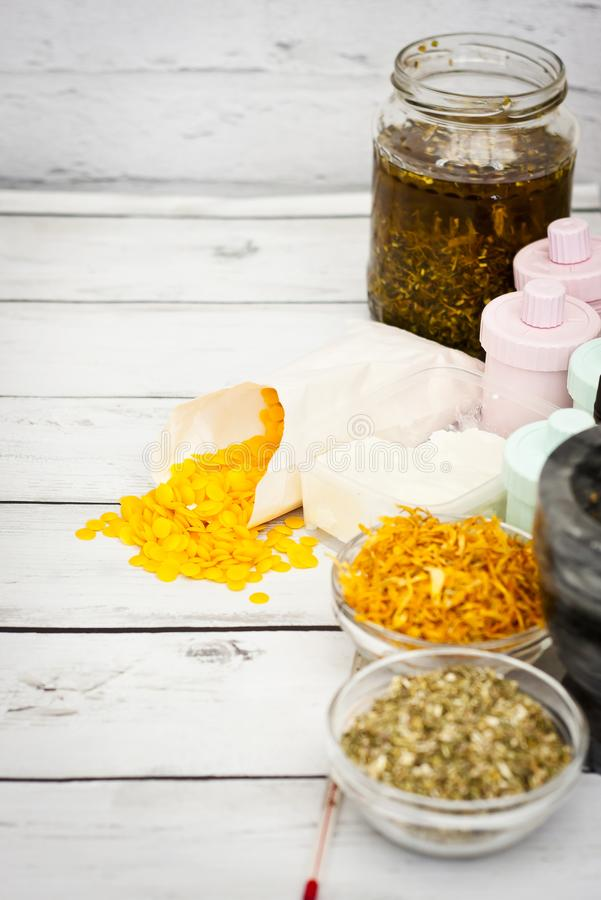 Natural handmade cosmetic object, oil, herbal royalty free stock photography