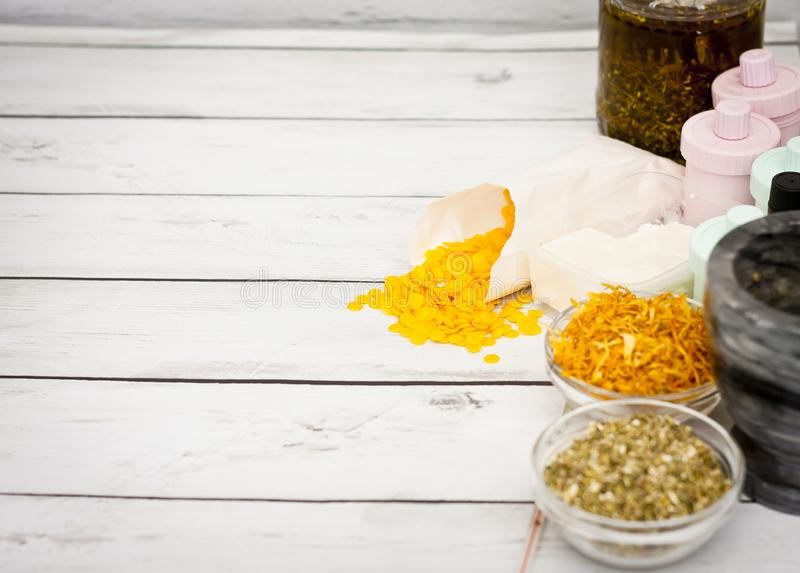 Natural handmade cosmetic object, oil, herbal stock photo