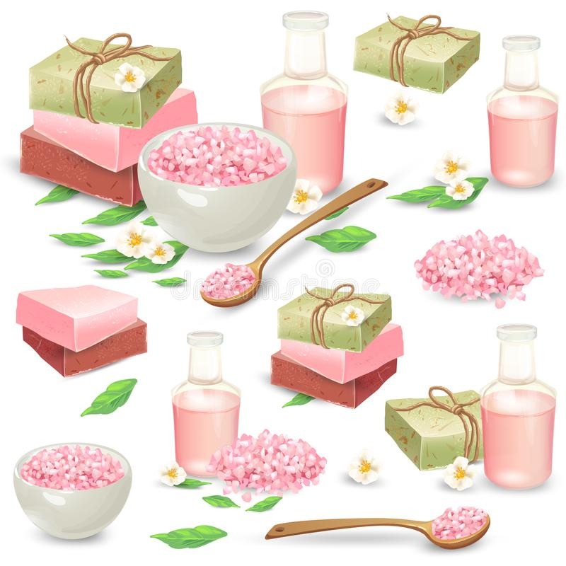 Natural handmade cosmetics for spa vector set. Organic handmade soap packed in craft paper, aromatic salt in bowl and wooden spoon, massage oil in bottle vector stock illustration
