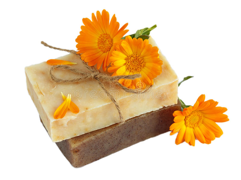 Natural handmade soap with calendula (pot marigold). Isolated on white royalty free stock image