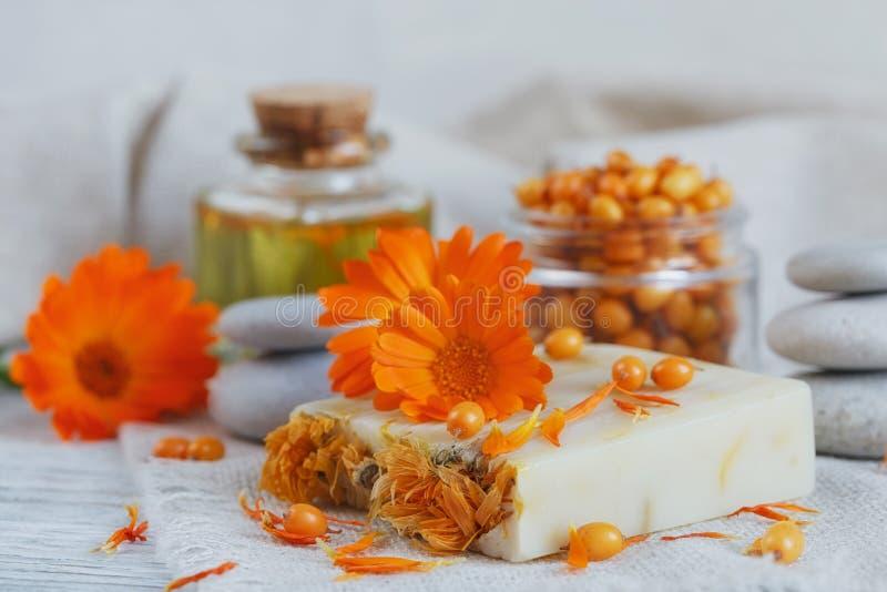 Natural handmade soap with calendula and sea buckthorn stock photography