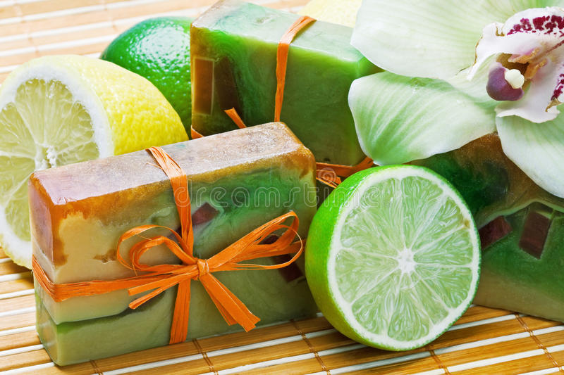 Natural handmade soap and fruit royalty free stock photo