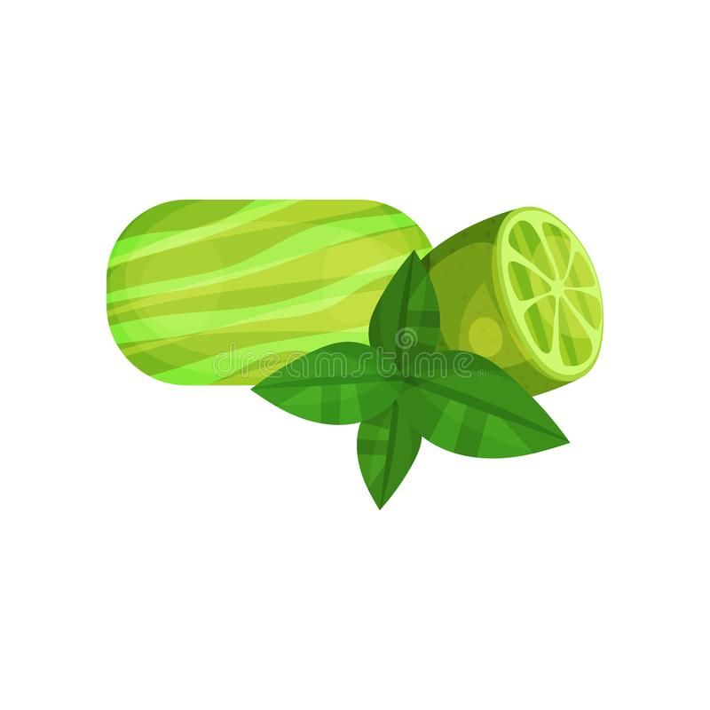 Natural handmade soap, half of juicy lime and green leaves. Organic cosmetics for skin care and personal hygiene. Item. For face and body cleaning. Colorful stock illustration