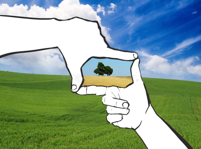 Natural hands frame vector illustration