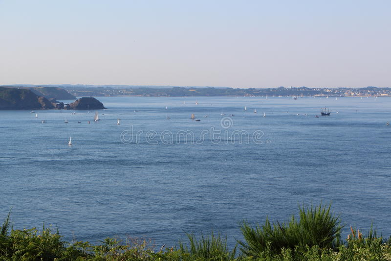 Natural harbor of Brest. Coast and sea of natural harbor of Brest stock image