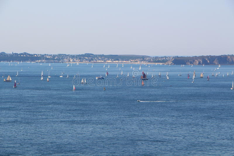 Natural harbor of Brest. Coast and sea of natural harbor of Brest with lots of boats royalty free stock photo