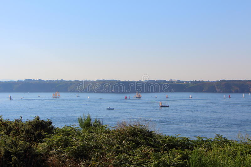 Natural harbor of Brest. With a lot of boats stock photo