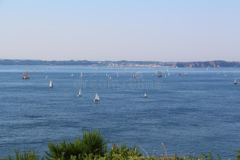 Natural harbor of Brest. With a lot of boats stock photography