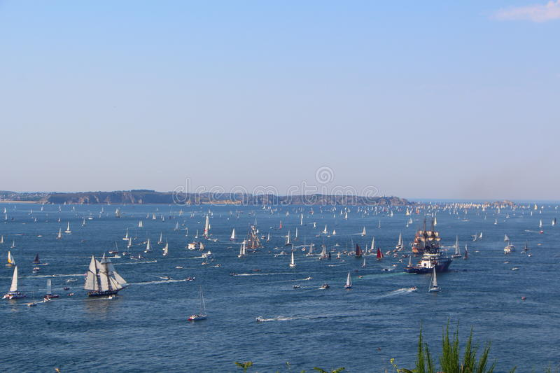 Natural harbor of Brest. With lots of boats during maritime festival stock image