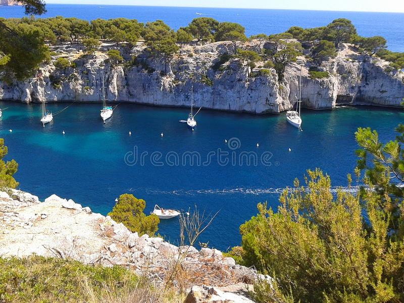 Natural harbor. Of Cassis on the Mediterranean coast royalty free stock image