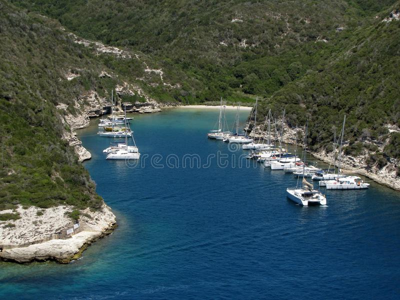 The natural harbor, in an inlet, view from Bonifacio. Corsica Island, France x. The natural harbor, in an inlet, view from Bonifacio. Corsica Island, France stock image