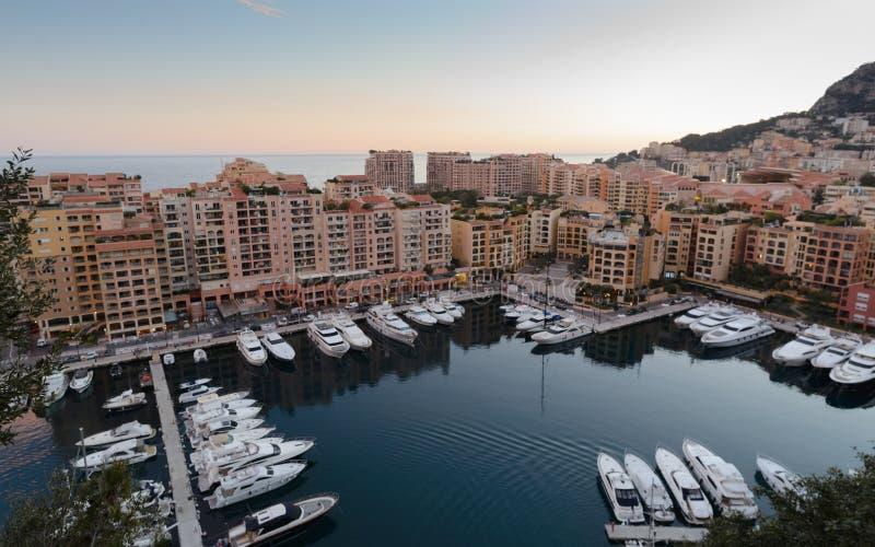 Natural harbor in Montecarlo`s cityscape. Montecarlo, Monaco; 03 15 2019; Natural harbor in Montecarlo`s cityscape , Monaco royalty free stock photography