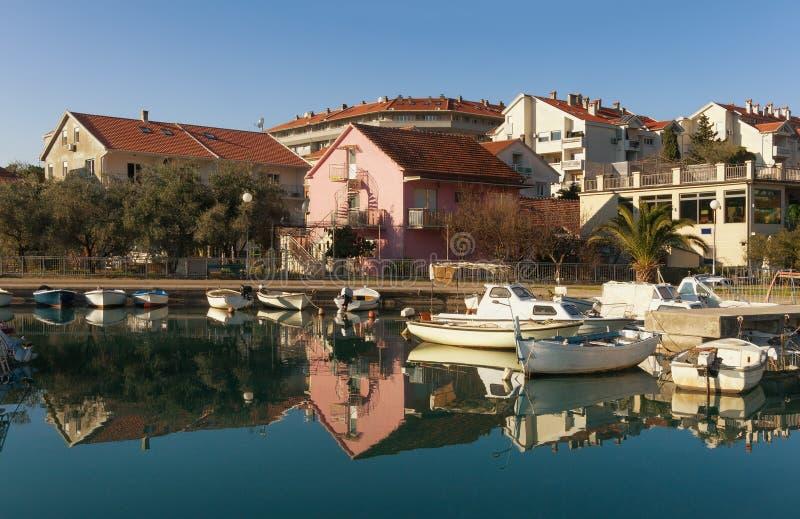 Natural harbor in Tivat city. Montenegro. Natural harbor of Kalimanj in Tivat city. Montenegro royalty free stock photos
