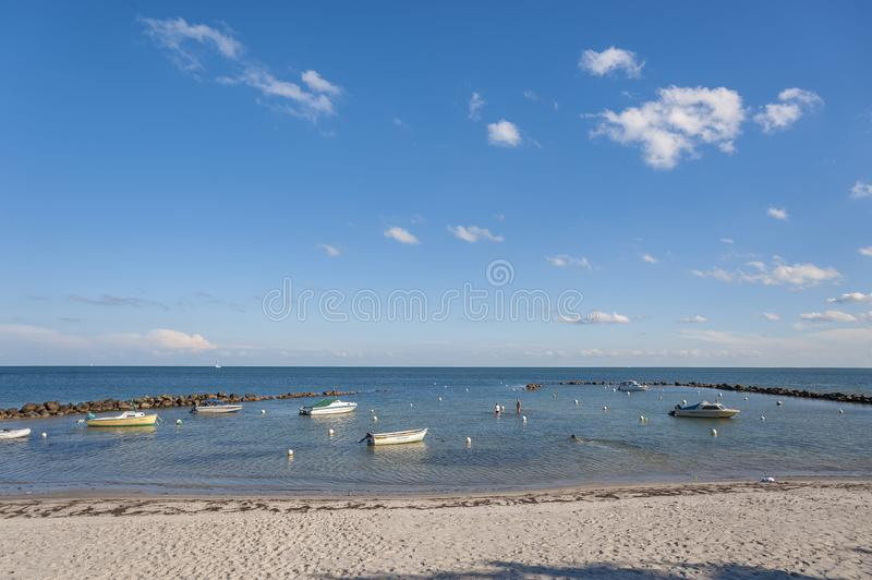 Natural harbor in Wulfen. Natural harbor at the Wulfener Hals in Wulfen on the island Fehmarn at the Baltic Sea stock photos