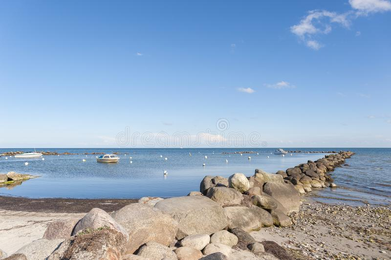 Natural harbor in Wulfen. Natural harbor at the Wulfener Hals in Wulfen on the island Fehmarn at the Baltic Sea, Schleswig-Holstein, Germany, Europe stock image