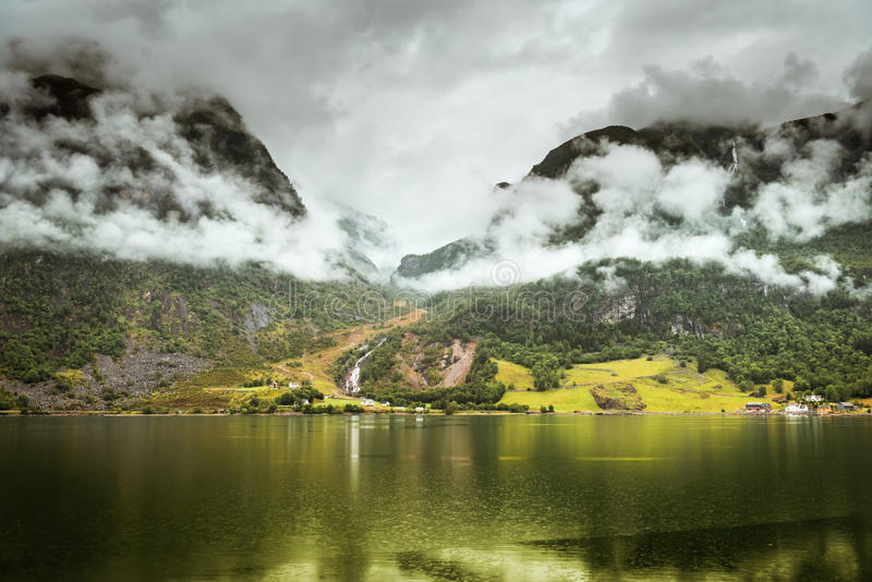 Natural Hardangerfjord fjord landscape of norway. Summer Hardangerfjord fjord landscape of south norway royalty free stock photo