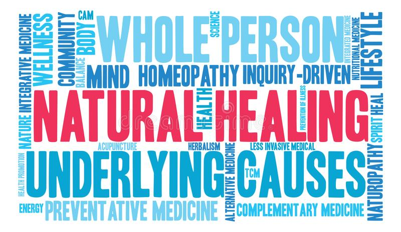 Natural Healing Word Cloud. On a white background royalty free illustration
