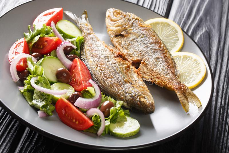 Natural healthy food fried Salema porgy fish with lemon and fresh vegetable salad close-up on a plate. horizontal royalty free stock image