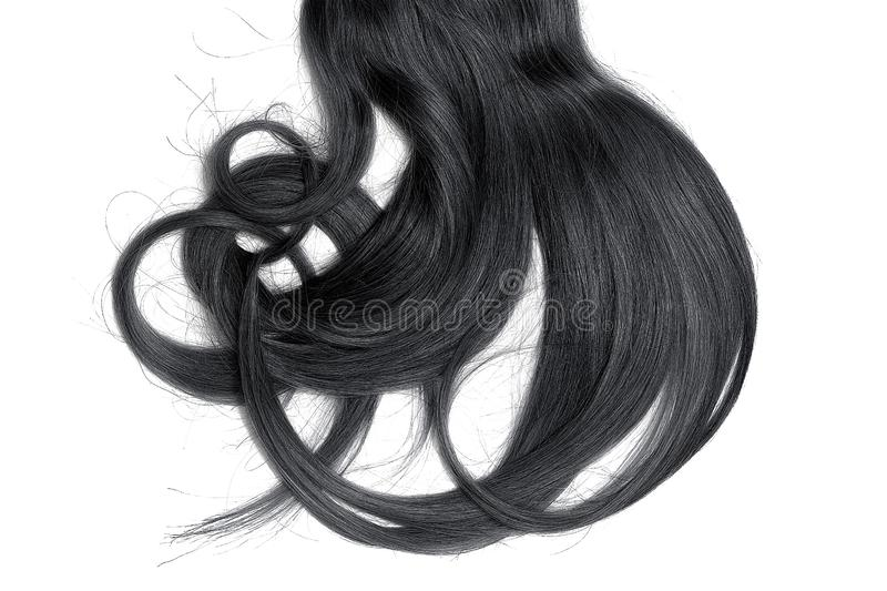 Bad hair day concept. Long, black, disheveled ponytail. Natural healthy hair isolated on white background. Detailed clipart for your collages and illustrations stock images