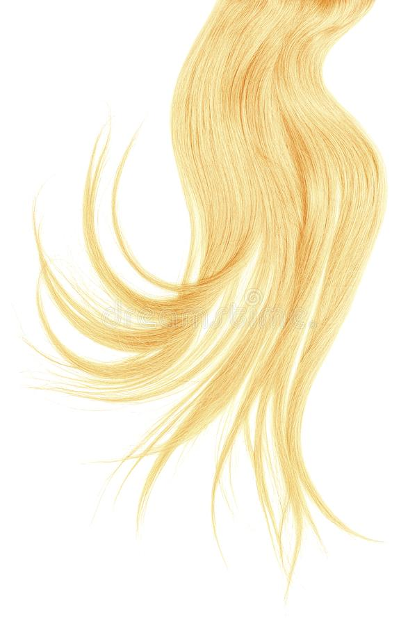 Disheveled blond hair isolated on white background. Natural healthy hair isolated on white background. Detailed clipart for your collages and illustrations royalty free stock images