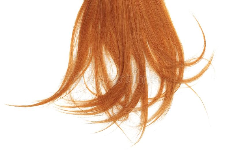 Disheveled red hair isolated on white background. Natural healthy hair isolated on white background. Detailed clipart for your collages and illustrations royalty free stock images