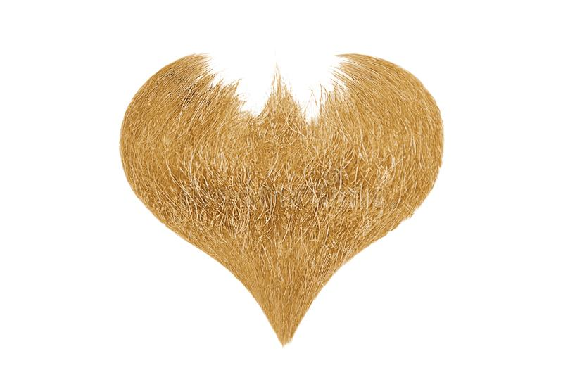 Hair heart. Blond beard isolated on white background royalty free stock photos