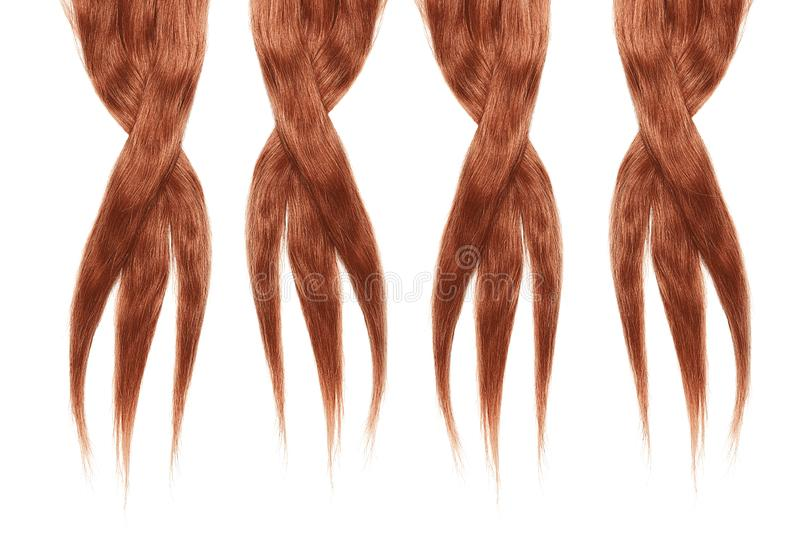 Henna hair isolated on white background. Long disheveled ponytail. Natural healthy hair isolated on white background. Detailed clipart for your collages and stock photo