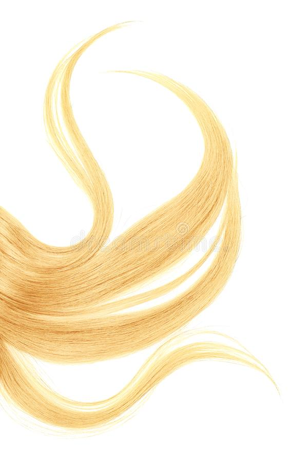 Long disheveled blond hair, isolated on white background. Natural healthy hair isolated on white background. Detailed clipart for your collages and illustrations stock photo
