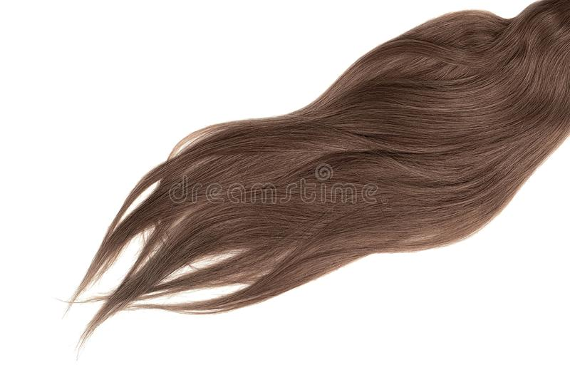 Lush brown hair isolated on white background. Natural healthy hair isolated on white background. Detailed clipart for your collages and illustrations stock image