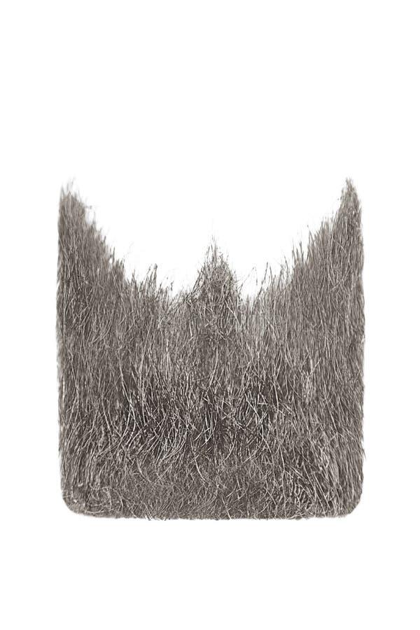 Square gray beard isolated on white. Men`s fashion stock image