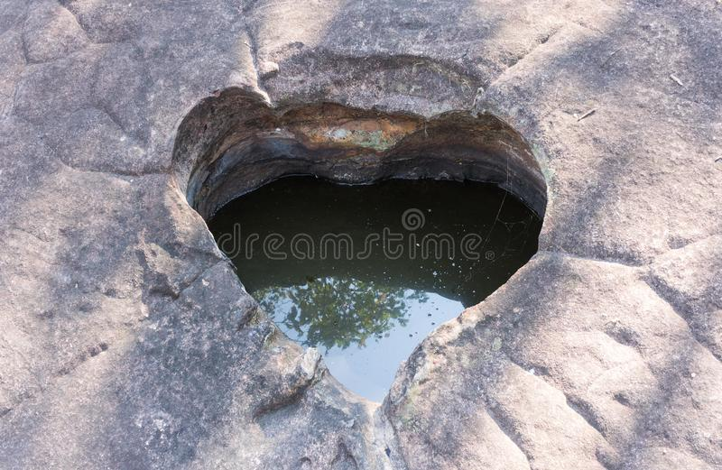 Natural Heart Shape Stone Pond at Phayao Attraction Northern Thailand Travel stock image