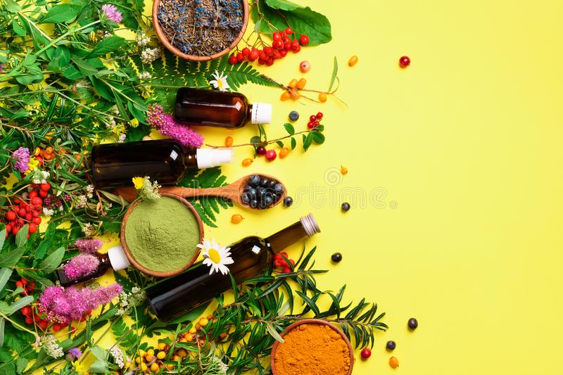 Natural herbal ingredients for alternative medicine on yellow background. Natural skin care beauty products. Organic concept. Top royalty free stock photography