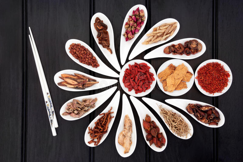 Natural Herbal Medicine. Chinese herbal medicine selection in white china bowls with chopsticks royalty free stock images