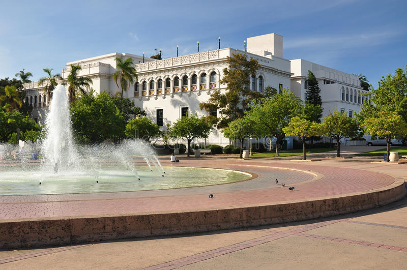 Natural History Museum. A large fountain frames this view of the Natural History Museum in Balboa Park. Located near downtown San Diego, California stock images