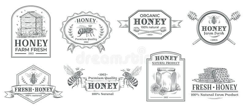 Natural honey badge. Bees farm label, vintage honey product hand drawn badges and bee emblem vector illustration set stock illustration