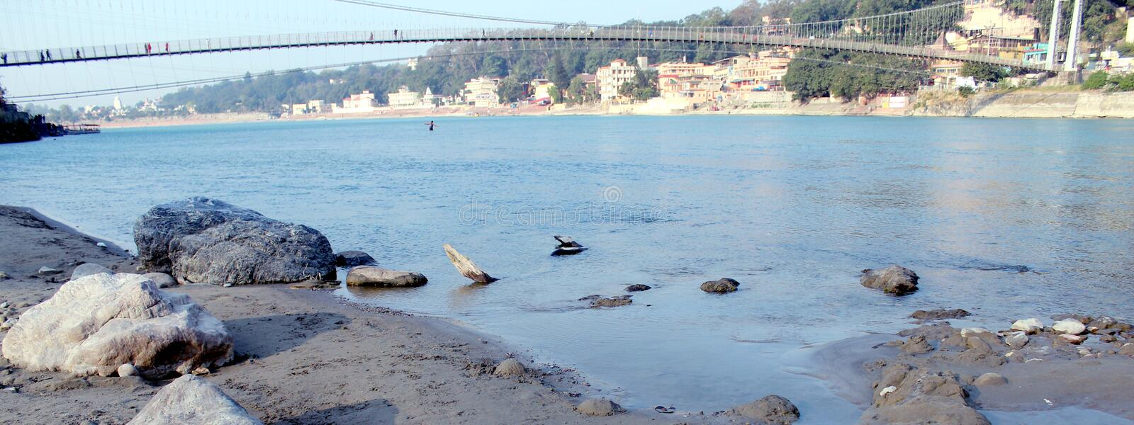 Natural Image. Rishikesh. Rishikesh, a most tranquil place in northern Uttarakhand, surrounded by hills and bisected by the wide and sluggish Ganges, is often royalty free stock images