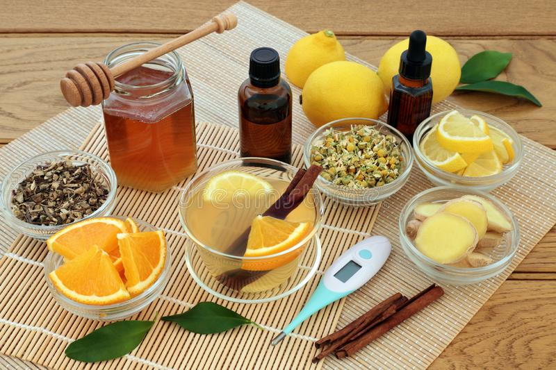 Natural Ingredients for Cold and Flu Remedy stock photos