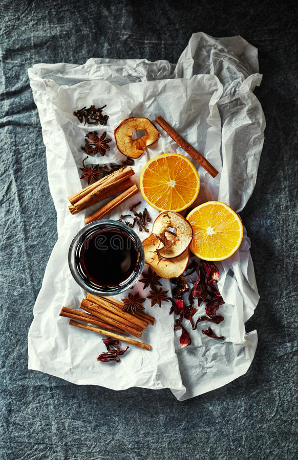 Natural ingredients for home made Mulled Wine for Christmas stock photography