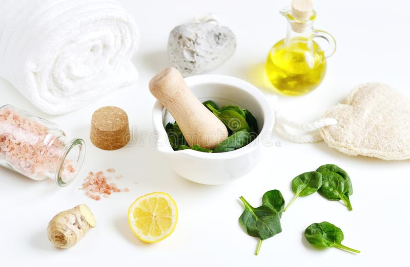 Natural Ingredients for Homemade Body Face Mask Scrub Green Spinach. Beauty Concept. SPA stock photo