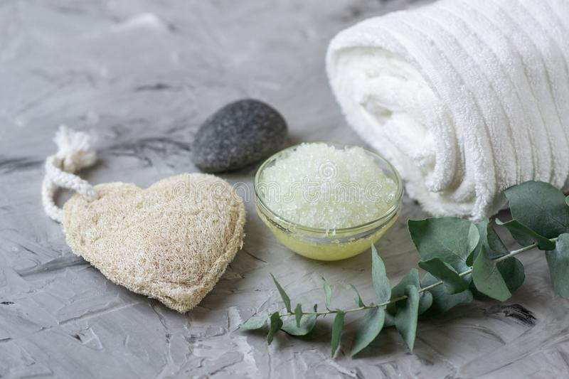 Natural Ingredients Homemade Body Sea Salt Scrub with Olive Oil White Towel Beauty Concept Skincare royalty free stock images