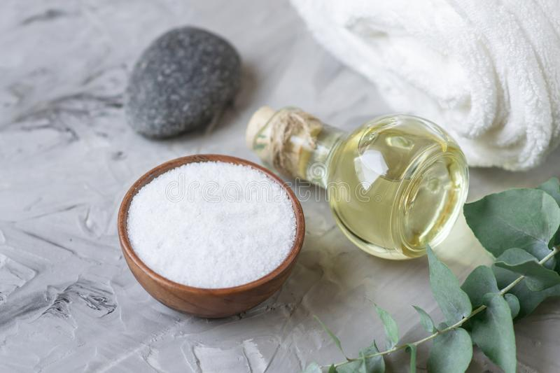 Natural Ingredients Homemade Body Sea Salt Scrub with Olive Oil White Towel Beauty Concept Skincare stock photography